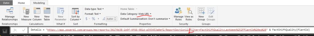 Zeigt kalkulierte Spalte mit Linkinformationen zum Zielreport und Kategorisierung als Web-Url