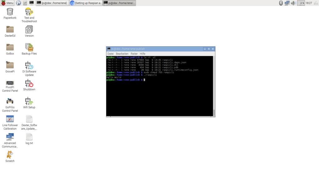 Bild zeigt die beschriebenen Schritte der auszuführenden Befehle auf dem Raspberry