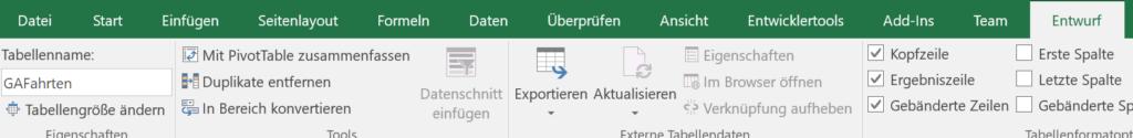 Bild zeigt im Menüband von Excel den Tabellenname GAFahrten