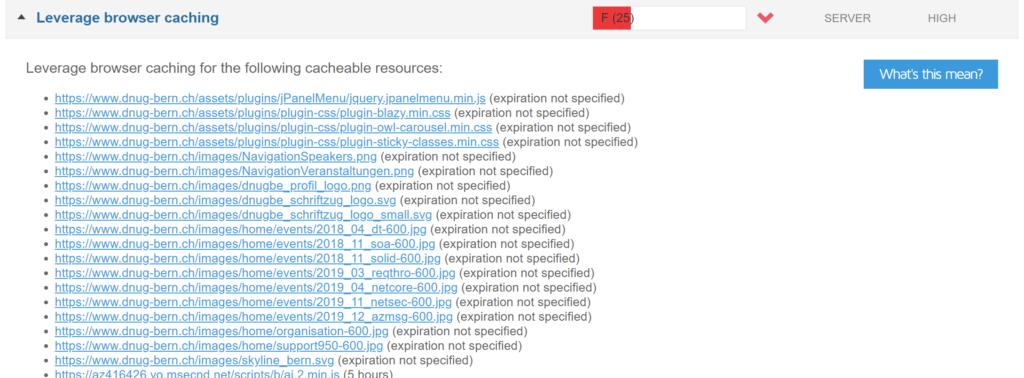 Abbildung zeigt eine Liste statischer Dateien, die im Browsercache zwischengespeichert werden können