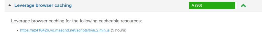 Abbildung zeigt die Liste der statischen Files nach der Anpassung. Eine Datei mit 5 Stunden Cache-Dauer wird noch angezeigt.