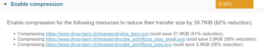 """Abbildung zeigt die Auswertung mit dem Hinweis """"Enable Compression"""", dass SVG-Dateien komprimiert werden können."""