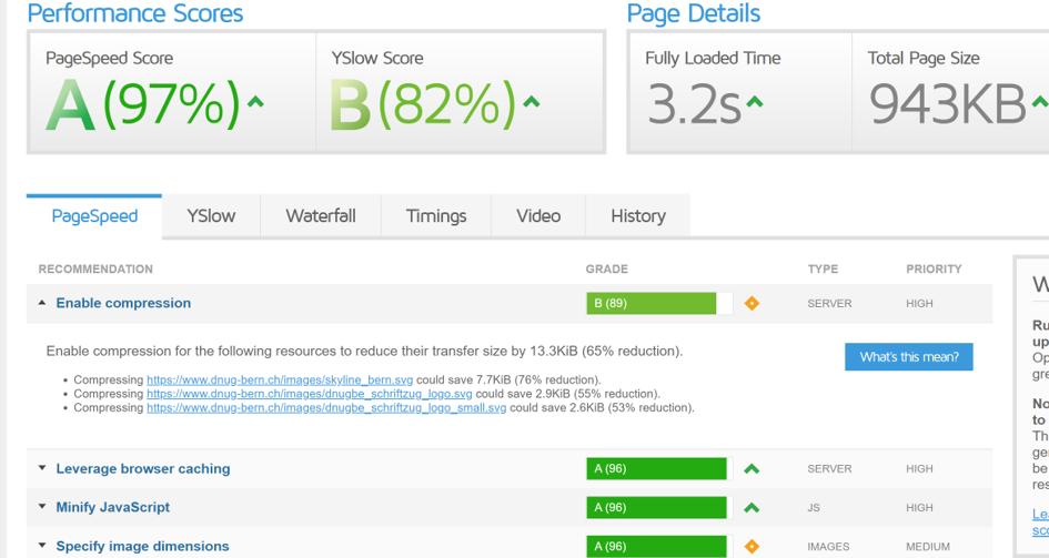 Abbildung zeigt einen erstellten Report von GTmetrix mit Handlungsempfehlungen