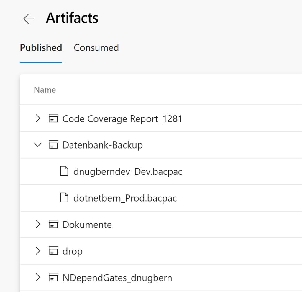 Die Abbildung zeigt das Backup der Azure SQL Datenbank im Artifacts - Bereich von Azure DevOps