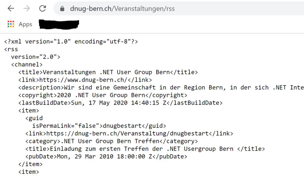 Die Abbildung zeigt einen Ausschnitt des RSS Feed der .NET User Group Bern
