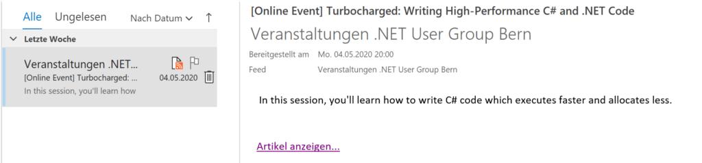 Abbildung zeigt einen Ausschnitt der Veranstaltungen in Microsoft Outlook. Der Benutzer entscheidet so, ob und in welchen Umfang er informiert werden will.