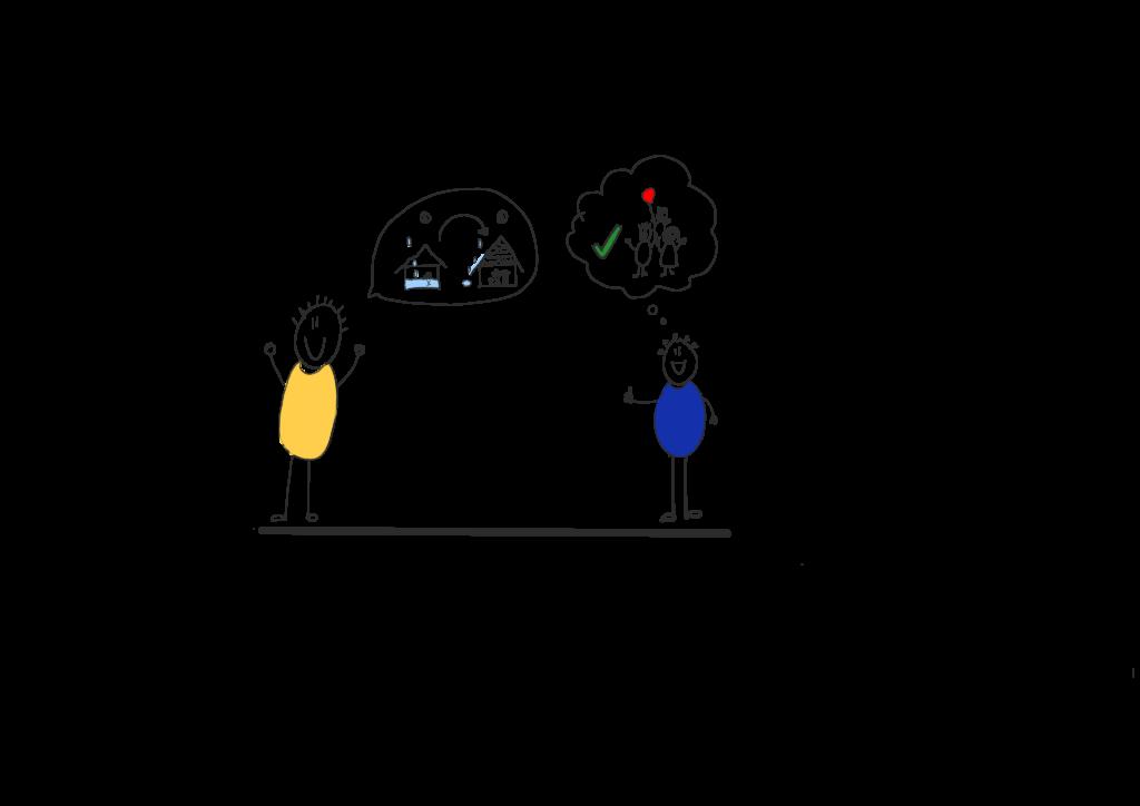 Zwei Personen sind zu sehen. Die Person links erklärt mit einem PAR-Statement seine Fähigkeiten im Dächer flicken. Die andere Person stellt sich die glückliche Familie vor.