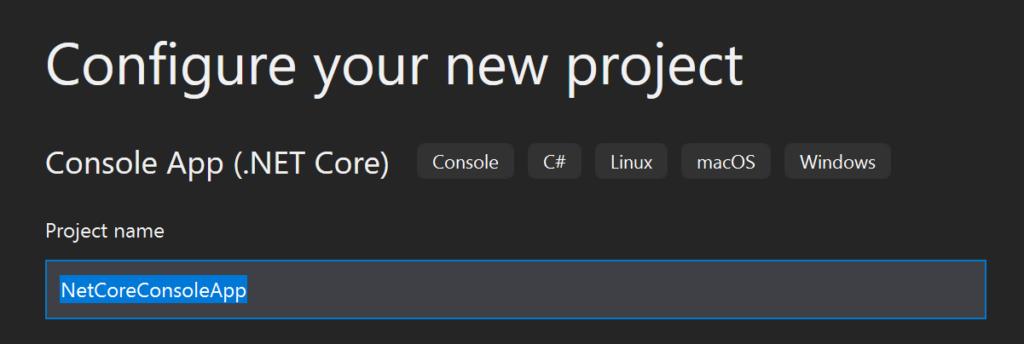 Die Abbildung zeigt den Wizard von Visual Studio 2019 zur Erstellung einer neuen Konsolen-Anwendung mit .NET Core