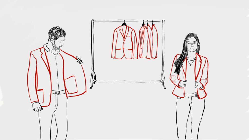 Eine Frau und ein Mann probieren verschiedene Blazer an, die an einer Kleiderstange hinter ihnen hängen. Sinnbildlich für die verschiedenen Blazor-Libraries.