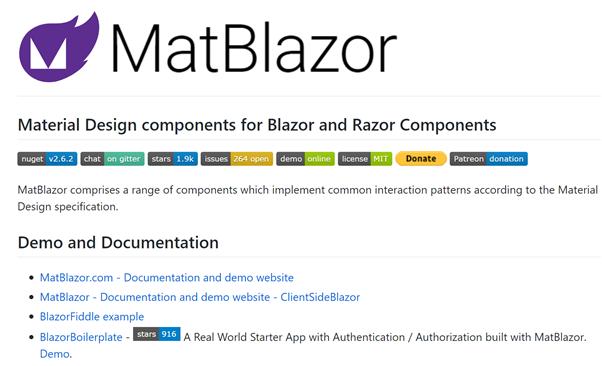 Die Abbildung zeigt die momentan verfügbaren Komponenten von MatBlazor.