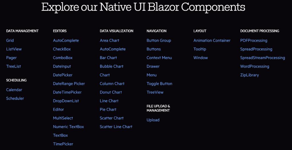 Die Abbildung trägt den Titel Explore our Native UI Blazor Components und zeigt die Möglichkeiten von Telerik UI for Blazor.