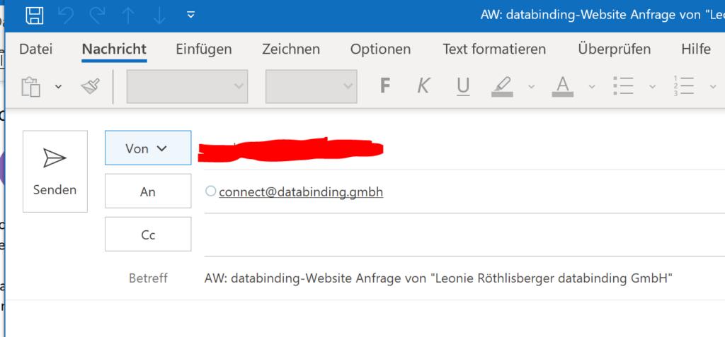 Abbildung zeigt die Anfrage im Standard-Email Programm zur Beantwortung der Anfrage