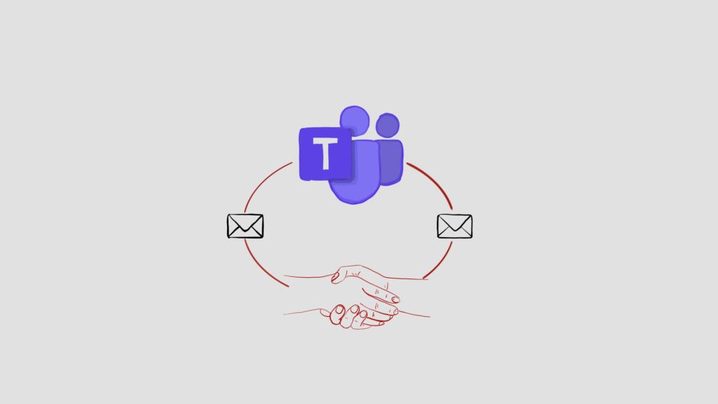 Das Beitragsbild zeigt das Icon von Microsoft-Teams in einem Kreis mit Symbolen für Mails und einem Handschlag für Nachrichten und Anfragen.