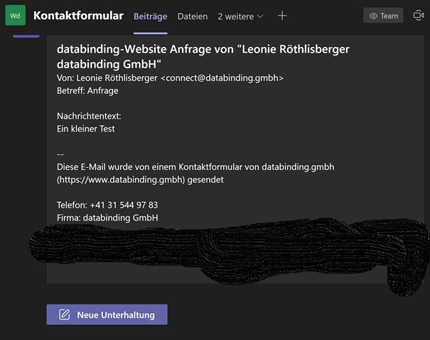 Abbildung zeigt den Inhalt einer Mail im Kanal Kontaktformular