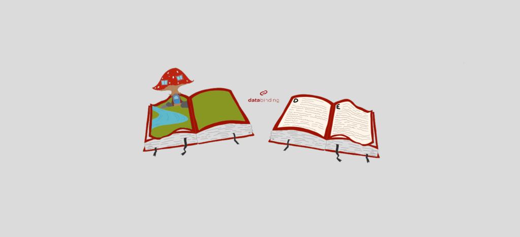 Als Vergleich zum Code Behind sieht man auf dem Bild ein Bilderbuch auf der linken Seite und ein Lexikon auf der rechten Seite.