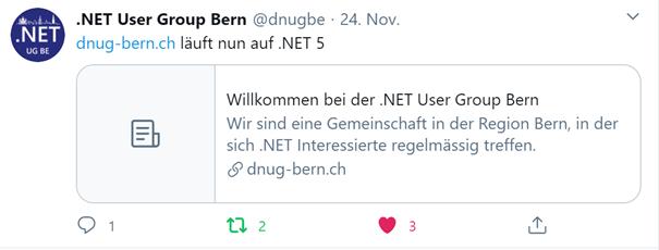 Die Abbildung zeigt einen Tweet mit den Hinweis, dass die Seite auf .NET 5 läuft