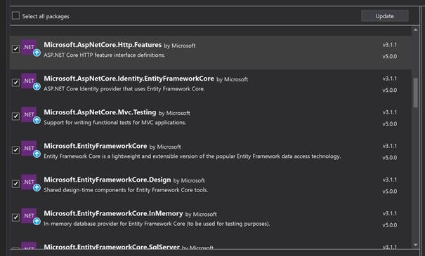 Die Abbildung zeigt eine grafische Auflistung der NuGet Pakete, die auf .net 5 aktualisiert werden müssen
