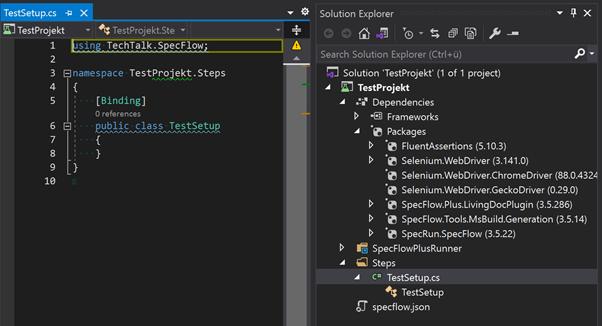 Abbildung zeigt ein Projekt welches auf der .NET CLI Vorlage basiert und der Namespace durch die Anhabe des Projektnamens ersetzt wurde.