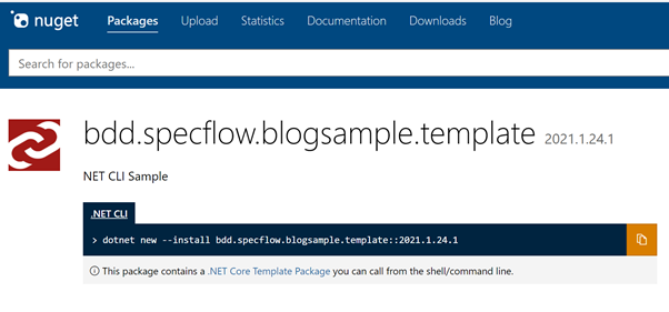 Abbildung zeigt die angepasste Installationsanweisung für unsere .NET CLI Vorlage auf NuGet