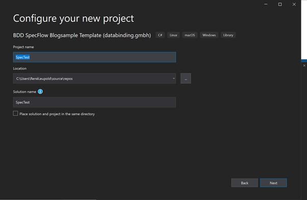 Abbildung zeigt den zweiten Schritt des Assistenten zum Anlegen des Projekts