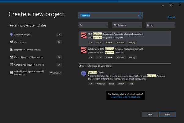 Abbildung zeigt die .NET CLI Vorlage in der Visual Studio Projekt-Auswahl