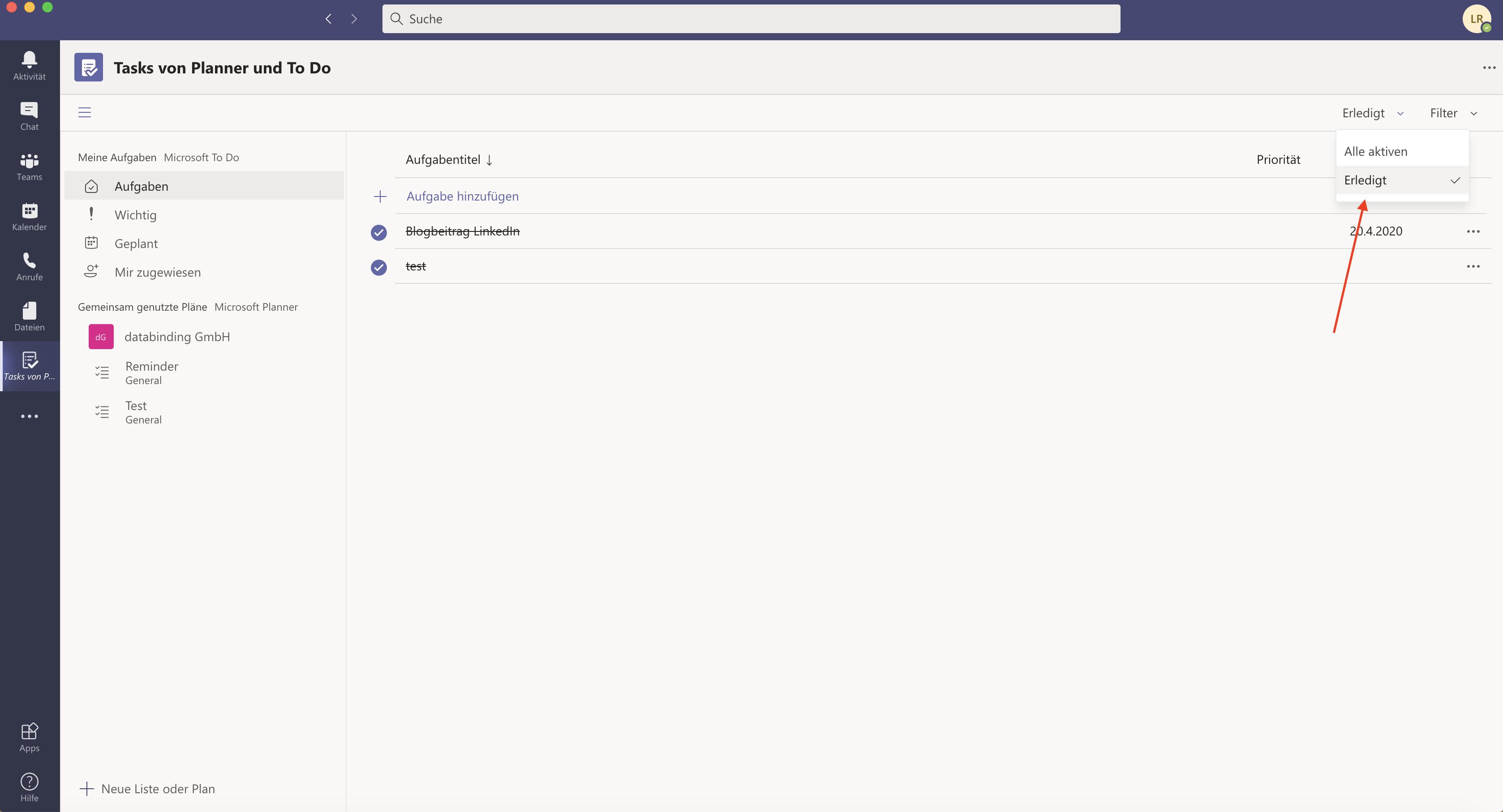Das Bild zeigt in Microsoft Teams Tasks von Planner & To Do, wie man erledigte Aufgaben einsehen kann.