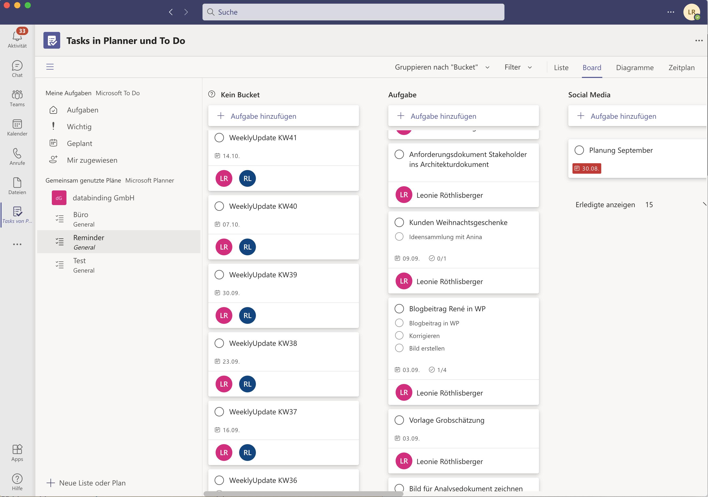 Die Abbildung zeigt wie die Boardansicht im MS-Teams Tasks von Planner & To Do aussieht in einem gemeinsamen Plan.